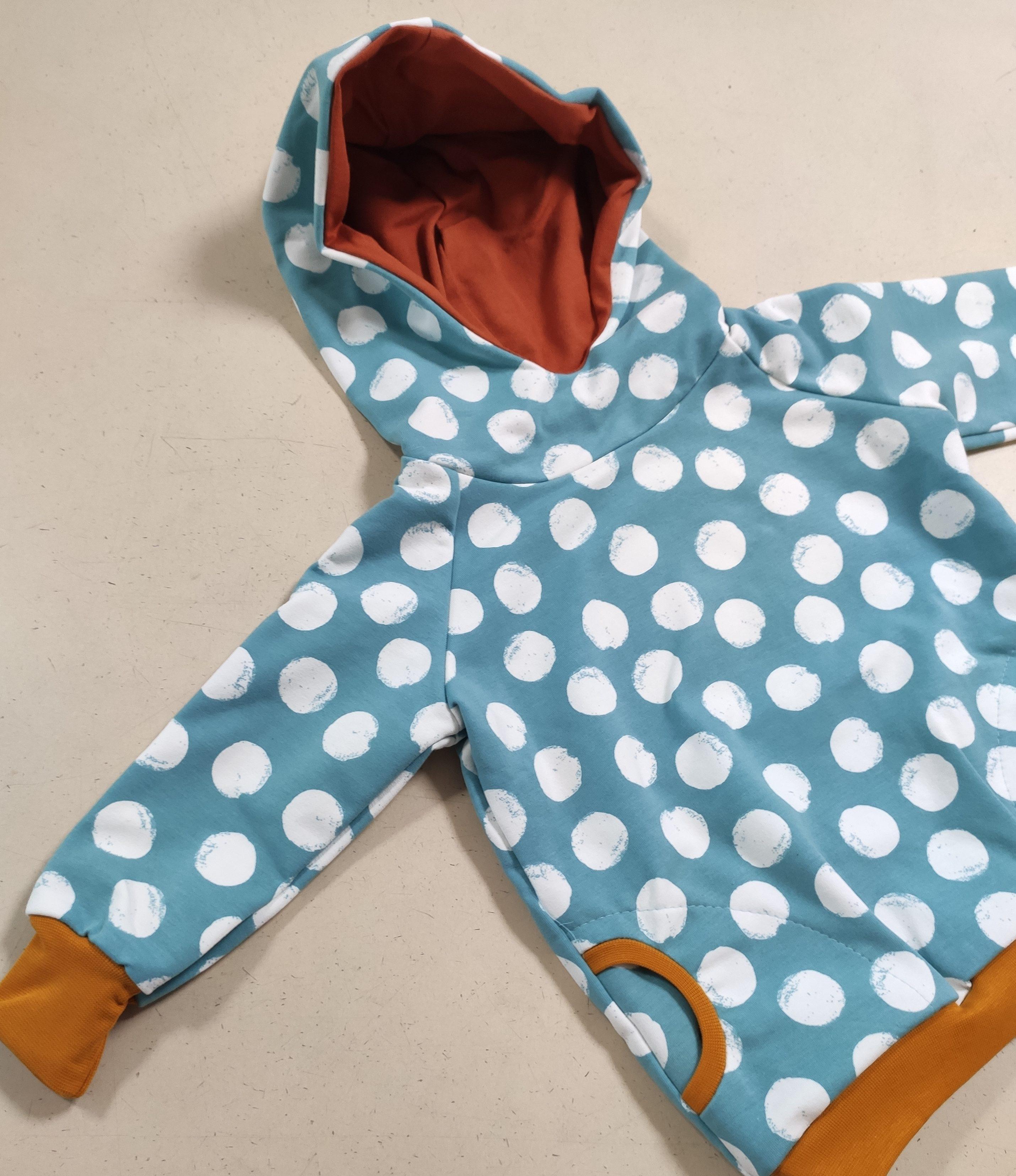 Hoodie / Kapuzen Pullover - Pünktchen blau