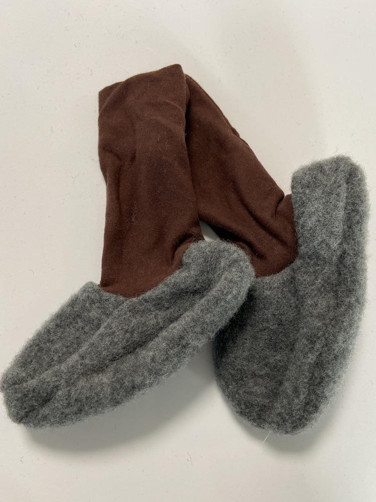 Wollschuhe - Trageschuhe Wolle hellgrau / braun