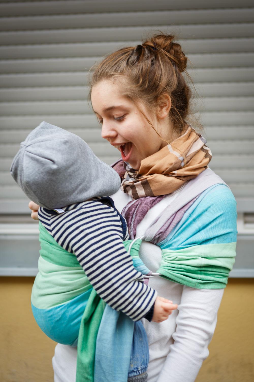 Girasol Exclusive Ringsling - Regenbogen Hortensie mint Kreuzköper