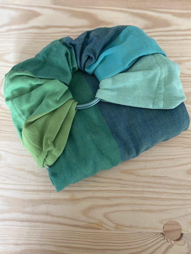 Girasol Exclusive Ringsling - Rainbow Nature grün Kreuzköper