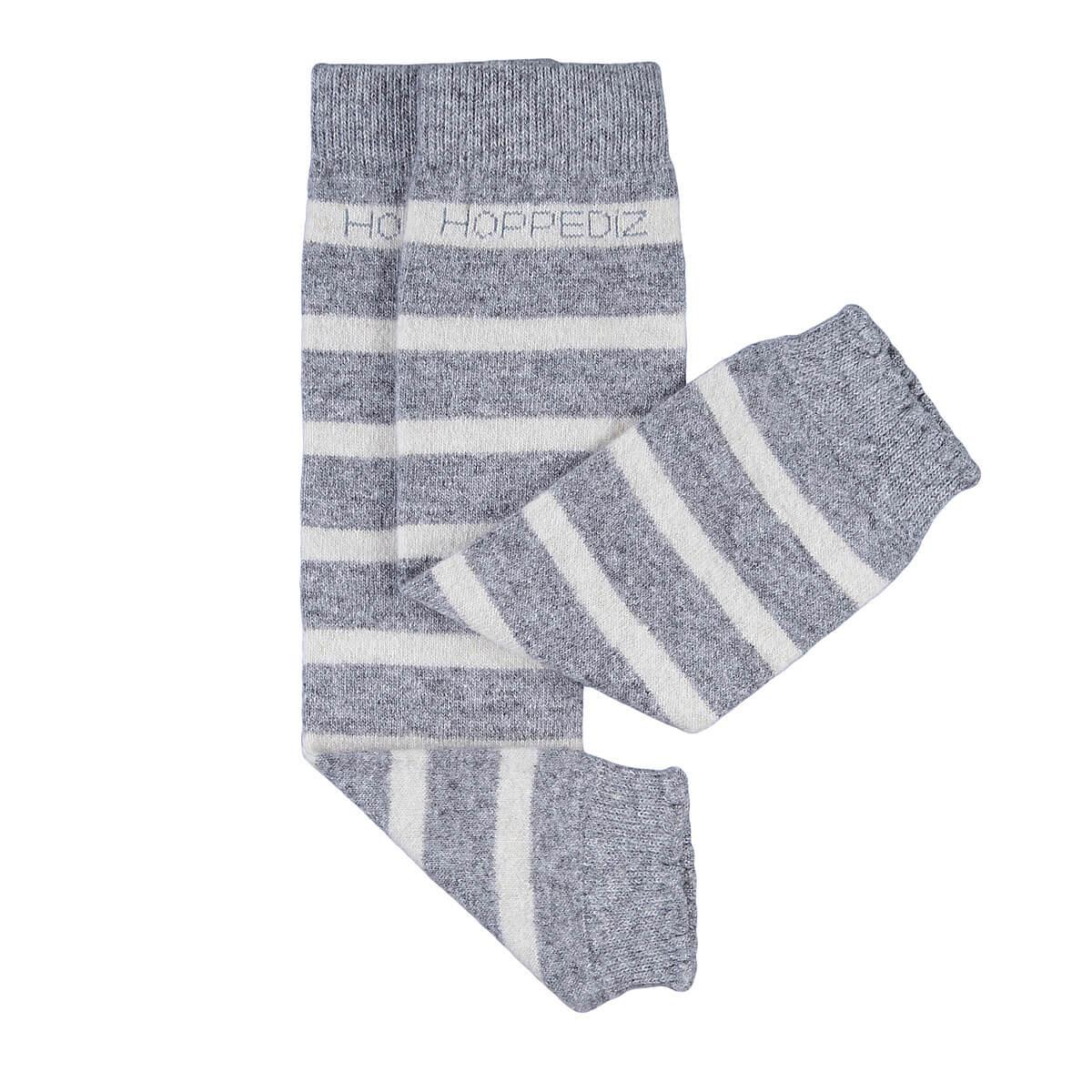 Merino-Babystulpen - grau/creme gestreift