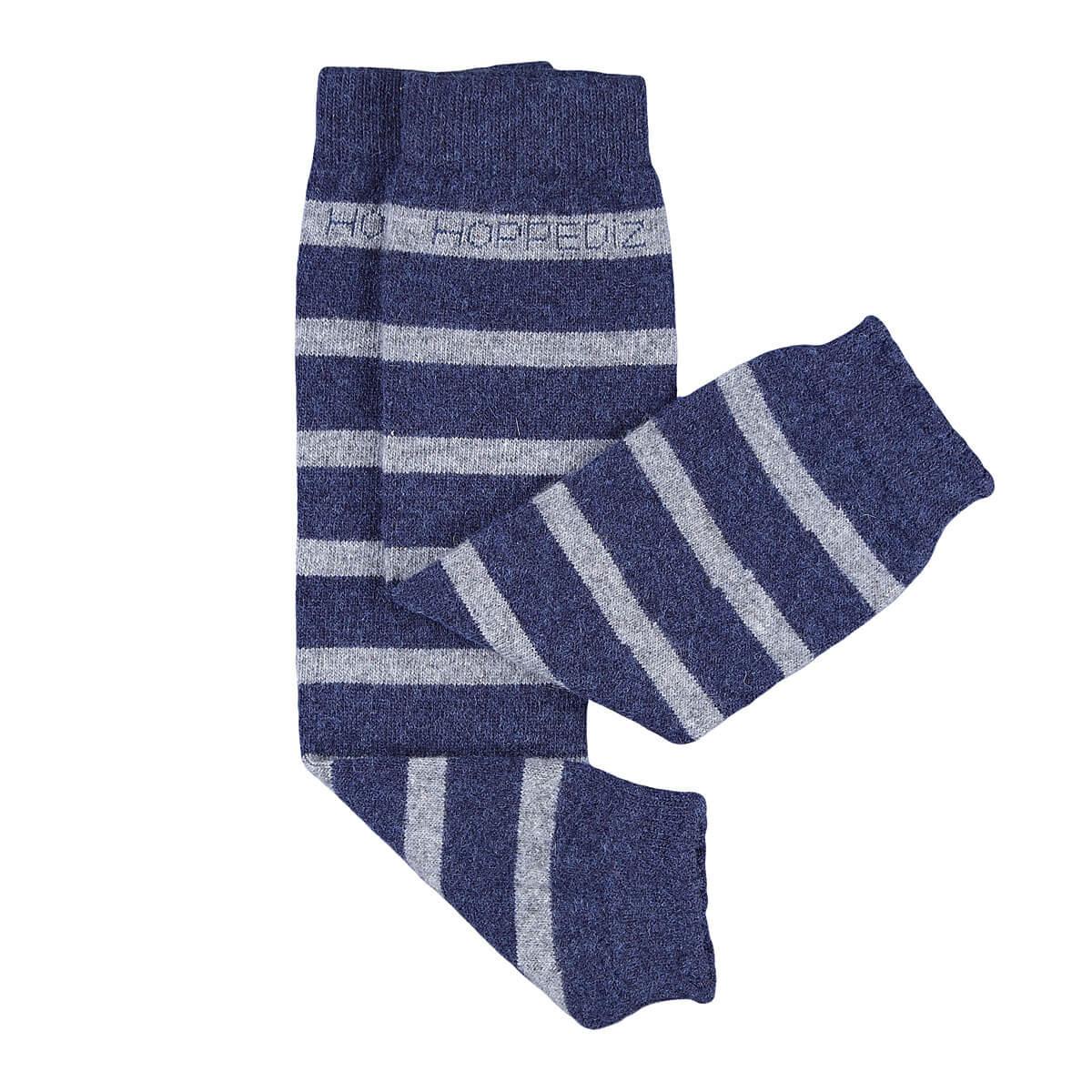 Merino-Babystulpen -  blau/grau gestreift