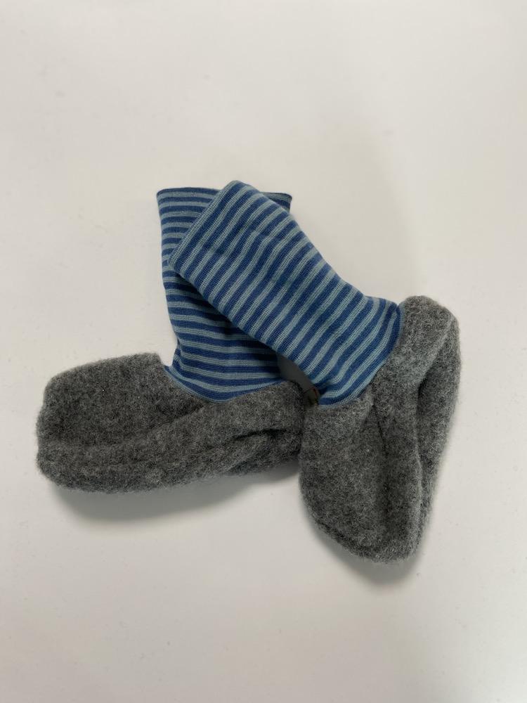 Wollschuhe - Trageschuhe Wolle hellgrau / blau - blau