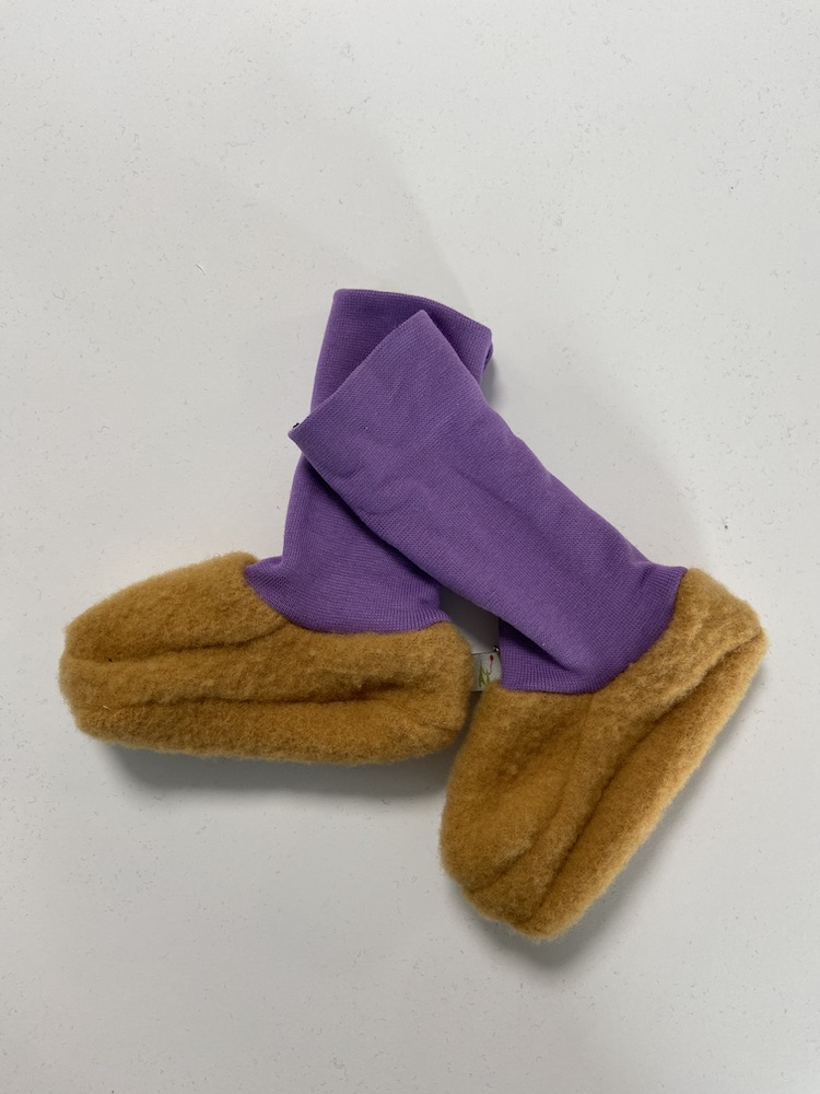 Wollschuhe - Trageschuhe Wolle curcuma / lila