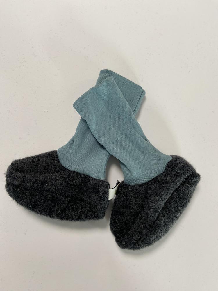 Wollschuhe - Trageschuhe Baumwolle anthrazit / rauchblau