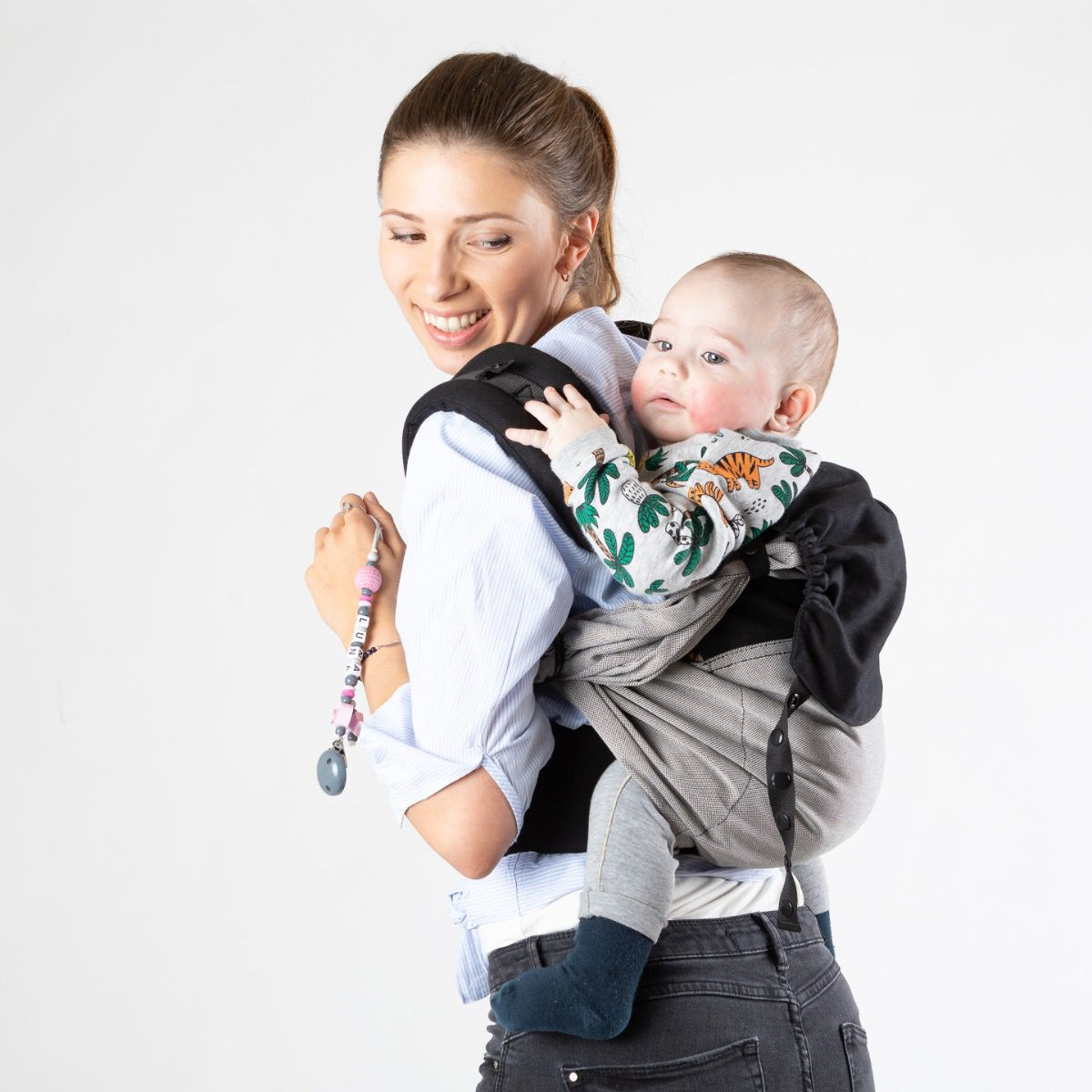 Easy Emeibaby Babytrage  Baby Size - grau / schwarz