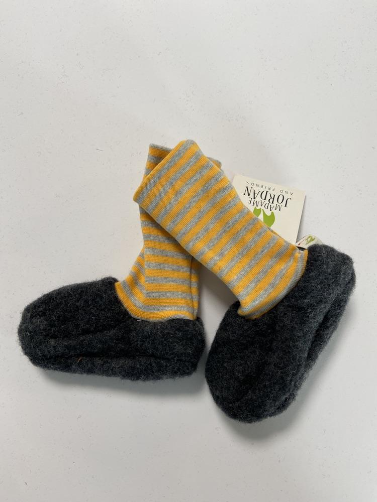 Wollschuhe - Trageschuhe Wolle grau / gelb - grau